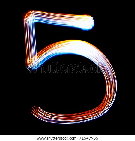5 - Created by light colorful digits over black background