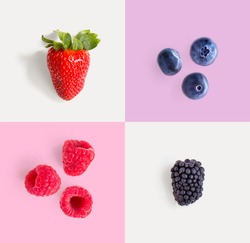 Creative layout made of strawberry, raspberry, blueberry and blackberry. Food concept.