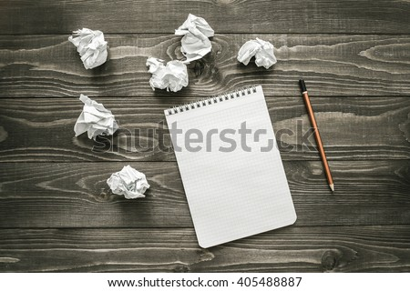creativity  concept, notepad, pencil and crumpled paper, flat lay #405488887
