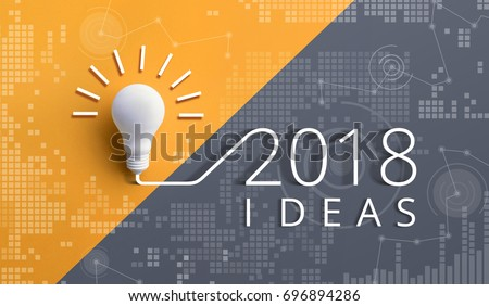 2018 creativity inspiration concepts with lightbulb on pastel color background.Business ideas #696894286