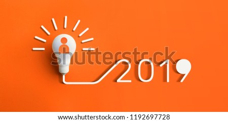 2019 creativity inspiration concepts with lightbulb on pastel color background.Business solution,planning ideas.glowing contents