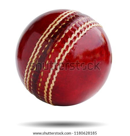 Cricket ball leather hard circle stitch close-up new isolated on white background. This has clipping path.           #1180628185