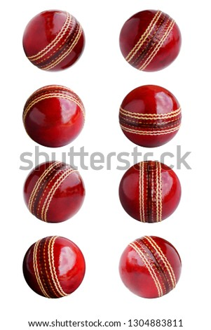 Cricket ball leather hard circle stitch close-up new isolated on white background. This has clipping path.    #1304883811