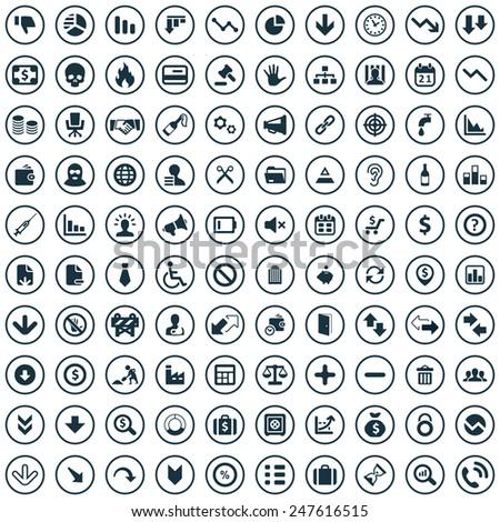 100 crisis icons big universal set