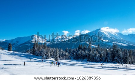 Stock Photo  Cross-country skiing and skating trails in the Allgäu Alps