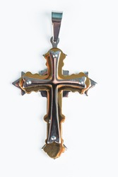 Cross with chain on white background