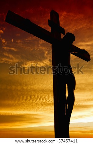 Crucifixion of Jesus Christ during sunset