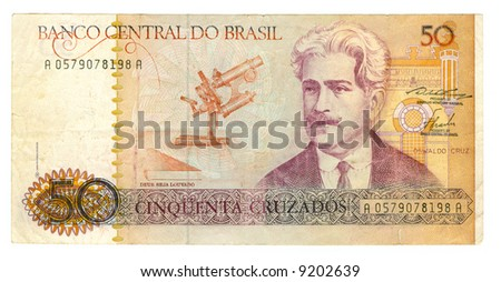 50 cruzeiro bill of Brazil, pink portrait, biscuit picture