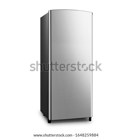 6.3 Cu Ft Apartment Refrigerator Isolated on White Background. Top Mount Fridge Freezer. Electric Kitchen & Domestic Major Appliances. Front View of Stainless Steel One Door Top-Freezer Fridge Freezer