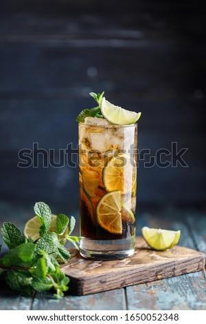 Cuba Libre or long island iced tea cocktail Photo stock ©
