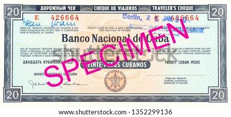 20 cuban peso traveler's cheque reverse #1352299136
