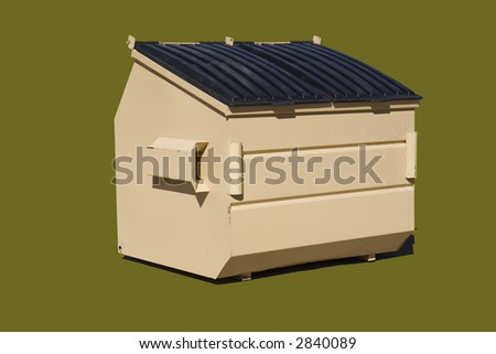 6 cubic yard trash bin isolated on a puke green color