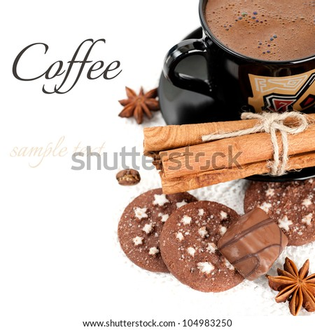 Cup of coffee, candy, chocolate chip cookies and cinnamon sticks (with sample text)