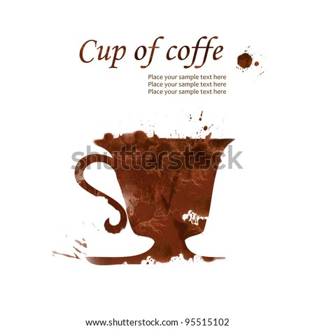 ? cup of coffee hand drawn from watercolor brown stains, isolated on white background - stock photo