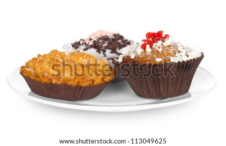 cupcakes on plate isolated on white