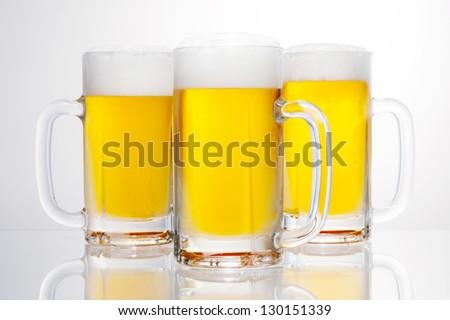 3 cups of draft beer stein
