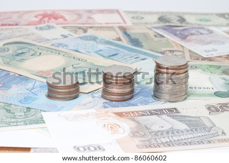 currency around the world banknotes and coins