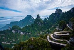 99 curve of Moutain,Beautiful Mountain in China,The winding road of Tianmen mountain national park, Hunan province, Zhangjiajie The Heaven Gate of Tianmen Shan, mountain in china