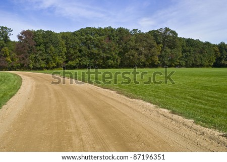 """Curved Trail"" Blue skies, green grass and a dirt road, early Autumn in Central New Jersey."