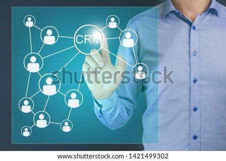 Customer Relationship Management, CRM concept. Human Resources. Social customer service, customer retention, customer relationship.