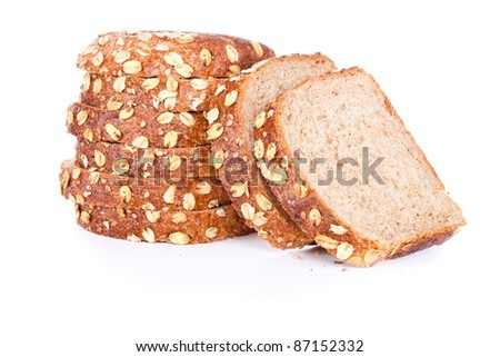 cut loaf of bread with reflection isolated on white