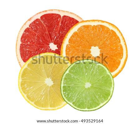 cut orange, grapefruit, lemon, lime fruits isolated on white background with clipping path #493529164