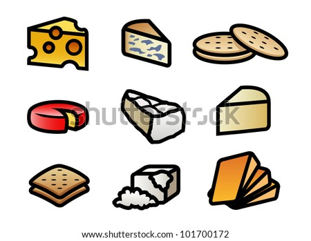 9 cute and colorful cartoon cheese and cracker illustrations.