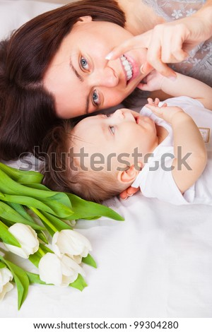 Cute baby 5 month with mother