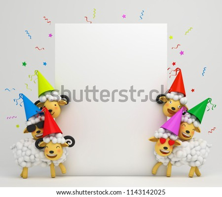 Cute cartoon sheep smile wearing colorful party hat. Design creative concept of islamic celebration eid al adha or happy birthday. Copy space text. 3d rendering illustration.