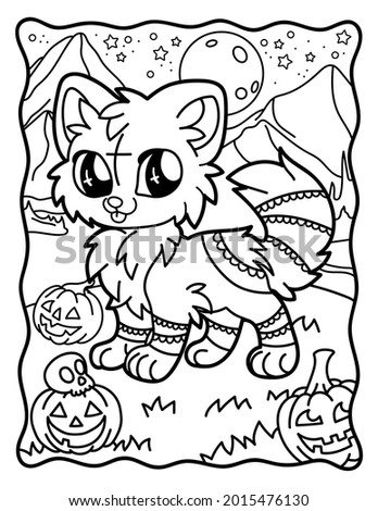 Cute kawaii fox. Magic animals.Coloring for children. Chibi. Gothic. Coloring book for adults. Halloween Magic.