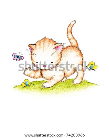 cute kitten with colorful butterflies on green lawnon