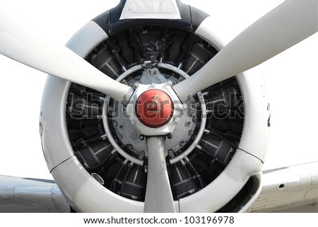 9 cylinder Radial Engine of old airplane with cliping path