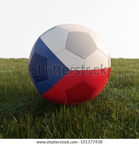 Czech Republic soccer ball isolated on grass