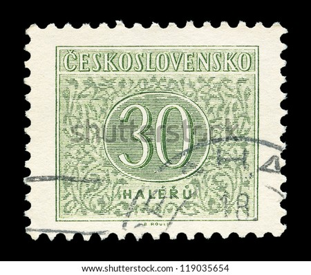 CZECHOSLOVAKIA - CIRCA 1954: A stamp printed in Czechoslovakia shows the stamp to pay postage costs, circa 1954