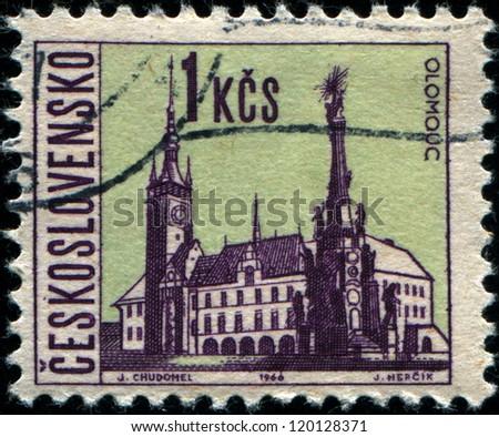 CZECHOSLOVAKIA - CIRCA 1966: A stamp printed in the Czechoslovakia, shows the city of Olomouc, circa 1966
