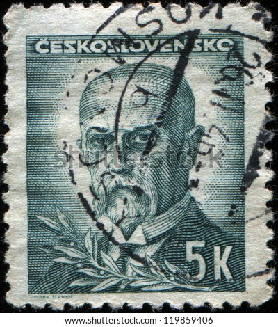 CZECHOSLOVAKIA - CIRCA 1945: A stamp printed in the Czechoslovakia, shows the first president of Czechoslovakia, Thomas Masaryk, circa 1945