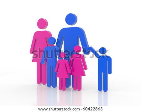 3D a family symbol on a white background