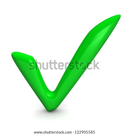 3d a symbol green yes on a white background
