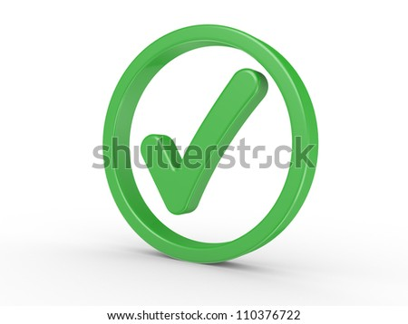 3d a symbol yes on a white background
