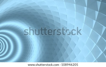 3d abstract architecture background. Blue tunnel with pyramidal surface and light rings