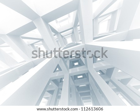 3d abstract architecture background. Internal space of a modern white braced construction