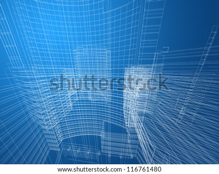 3d Abstract architecture mesh background