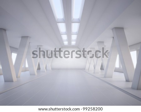 3D abstract architecture white interior
