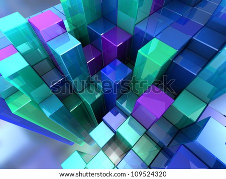 3d abstract background of blue modern cubes