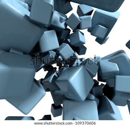 3D abstract background with blue cubes, particles design illustration.