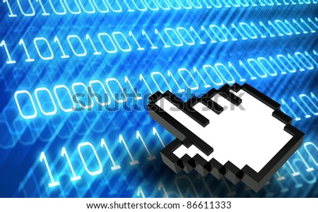 3d Abstract binary code with hand icon