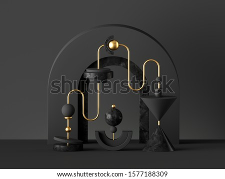 3d abstract black gold background. Black gold isolated primitive geometrical shapes. Cone ball cylinder torus, blank pedestal or podium. Constructor toys. Digital design, modern urban concept