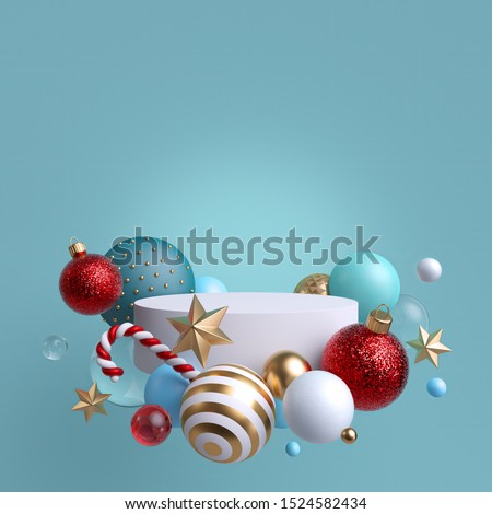 3d abstract blank blue background with Christmas ornaments. Glass balls, candy cane, gold and crystal stars. Round white podium, blank pedestal, empty space. Cylinder platform. Product showcase mockup