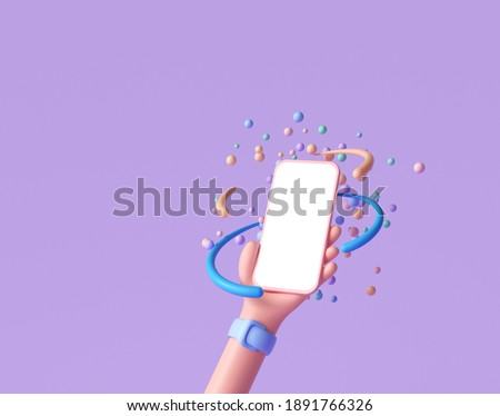 3D Abstract Cartoon hand holding phone with random floating spheres, minimal smartphone mockup. 3d render illustration