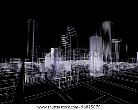 3D abstract city. Concept - modern architecture and designing.